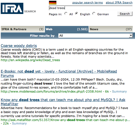 IFRAsearch – vertical search about newspaper industry