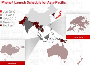 iPhone4 Launch Schedule for Asia-Pacific