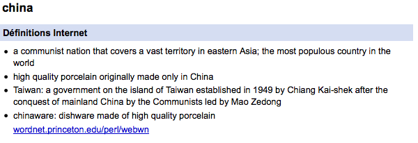 New Google dictionary defines China as Taiwan